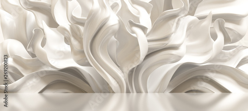Luxury elegant background with silk drapery. 3d illustration, 3d rendering.
