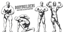 Isolated Illustrations Set Of Bodybuilders In Heroic Poses. Black And White Illustration.