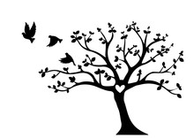 Flying Birds On Tree Vector, Tree With Heart, Wall Decals, Wall Decor, Flying Birds Silhouette, Birds On Branch, Art Design, Wall Decor Isolated On White Background. Natural Black And White Wall Decor