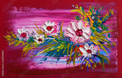 Oil painting a bouquet of f...