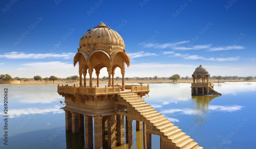 Fototapety, obrazy: Gadi Sagar temple gazebo on Gadisar lake Jaisalmer, Rajasthan, India