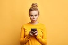 Angry Sad Woman With Hairbun A...