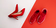 canvas print picture - A studio shot of pair of running vs high heel shoes on color background. Flat lay.
