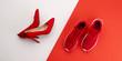 Leinwanddruck Bild - A studio shot of pair of running vs high heel shoes on color background. Flat lay.