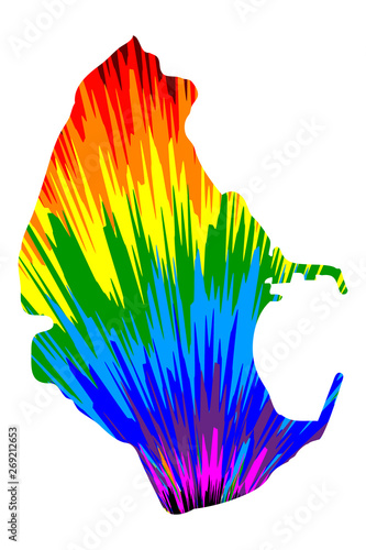 Melilla - map is designed rainbow abstract colorful pattern, Melilla (Spanish autonomous city) map made of color explosion,