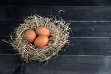 Fresh Brown Chicken Eggs In Ha...