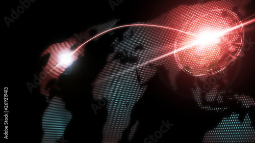 Photo  3D Rendering of world map with glowing dots and red curved line running across and target digital hud