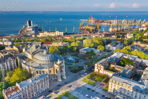 aerial view to streets and port in Odessa in Ukraine Wallpaper Mural