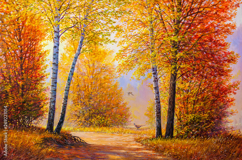 Keuken foto achterwand Honing Pheasants in the autumn forest.Oil painting landscape.