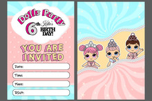 Pink Vector Template Of Invitation Card For Little Girl. Cute Illustration  Kids Birthday Party In Doll Princess Style. Printable Colorful Invite. Place Your Text, Picture, Photo Frame. Zipper Border