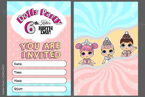 Photo Pink vector template of invitation card for little girl