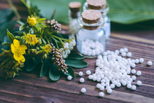 Homeopathic Globules In Small Bottles, Homeopathy Concept