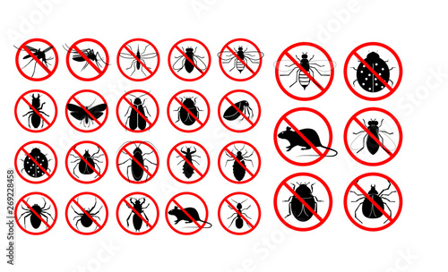 Fotografia set of prohibited insect isolated. easy to modify