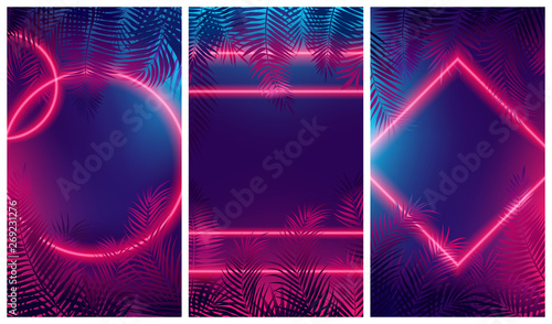 Fotografía Bright red glow from geometric shapes, neon cyberpunk background with tropical l