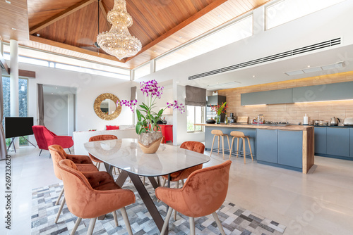 Fotografie, Obraz  interior design in living room and open kitchen area with dining table