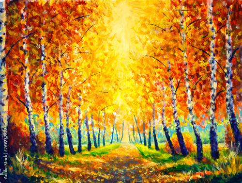 Painting Oil Autumn Landscape Golden Alley Park Modern
