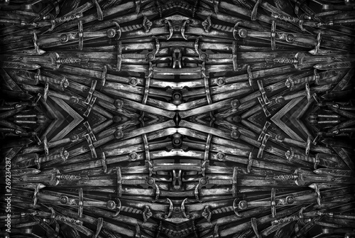 Photo  Metal knight swords background. The concept Knights.