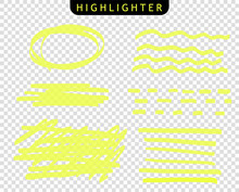 Set Of The Line Of Stroke Markers. Vector Highlight Brush Lines. Hand Drawing Sketch Underlined, Stripes. Elements On An Isolated Transparent Background.