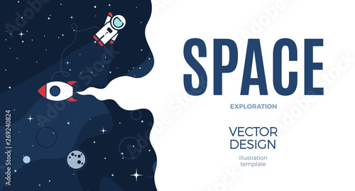 Space background with cosmos and white empty place for text Wallpaper Mural