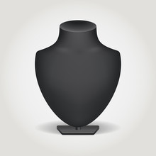 Jewelry Bust. Black Bust For Necklaces. Realistic Dummy For Costume Jewelry. Black Stand For Jewelry.