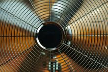 Closeup On Electric Metallic Fan