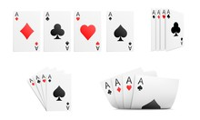Set Of Four Aces In Different Position Isolated On White Background. Vector Illustration.