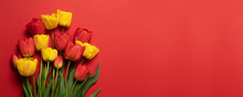 Beautiful Red And Yellow Tulips On A Red Background