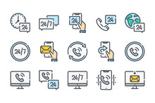 Callback Related Color Line Icon Set. Processing Colorful Linear Icons. Call Support And 24 Hour Service Flat Color Outline Vector Sign Collection.