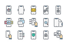 Smartphone Services Related Color Line Icon Set. Mobile Phone Colorful Linear Icons. Mobile Technology Flat Color Outline Vector Sign Collection.