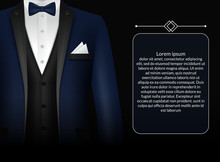 Business Suit Template With Black Tie And White Shirt In Realistic Style Isolated Vector Illustration