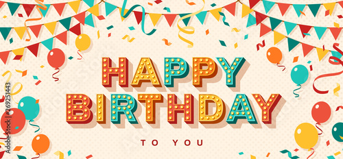 Canvas Print Happy Birthday greeting card