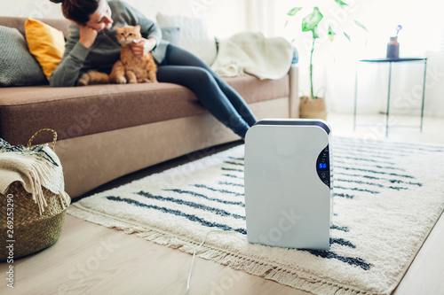 Fotografia  Dehumidifier with touch panel, humidity indicator, uv lamp, air ionizer, water container works at home while woman playing with cat