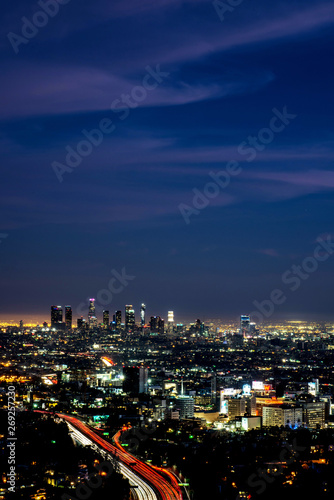 LOS ANGELES, CALIFORNIA - FEB 13: Night view of smoggy Los Angeles downtown Canvas Print