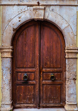 Old Wooden Door In The Old Part Of Town - Venetian Style
