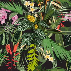 Naklejka Do kuchni Seamless pattern with tropical leaves and many kind of flowers. Bright green palm monstera leaves on the black background. Tropical illustration.