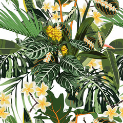 Panel Szklany Popularne Seamless pattern with tropical leaves and many kind of flowers. Bright green palm monstera leaves on the white background.