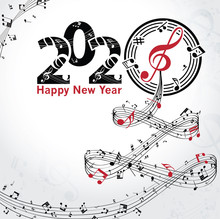 Musical Happy New Year Backgro...