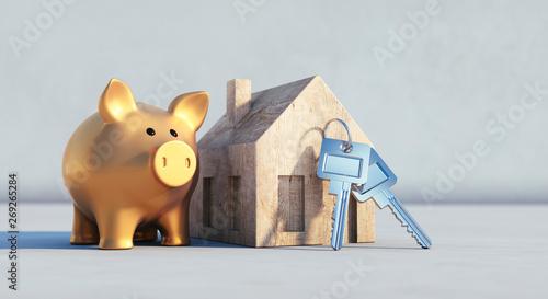 Photo Goldenes Sparschwein im Symbolhaus im Sonnenlicht