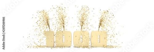 Obraz na plátne  fêter 1000 abonnés sur les réseaux sociaux