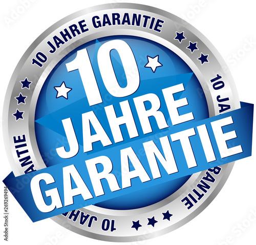 Button Banner 10 Jahre Garantie Blau/Silber Canvas Print