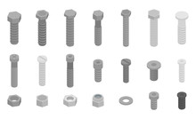 Screw-bolt Icons Set. Isometric Set Of Screw-bolt Vector Icons For Web Design Isolated On White Background