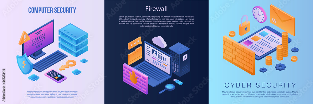 Fototapeta Firewall banner set. Isometric set of firewall vector banner for web design