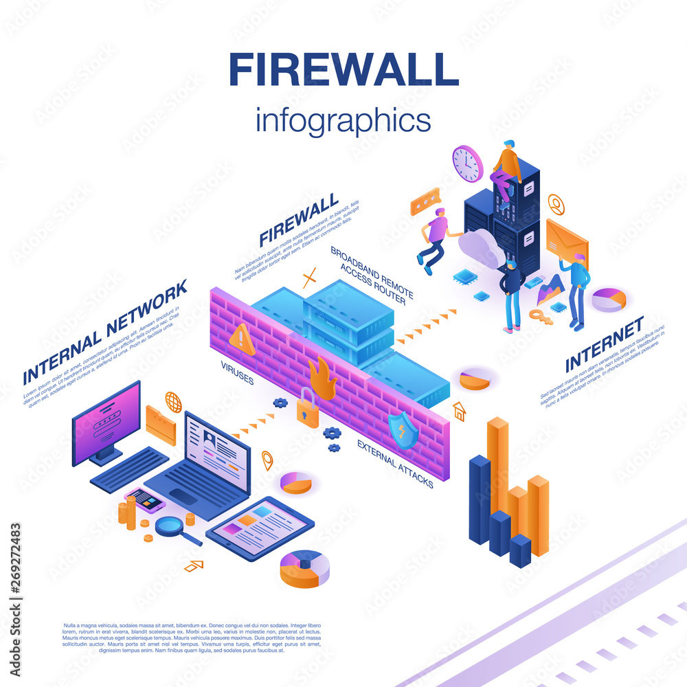 Fototapeta Firewall server infographic. Isometric of firewall server vector infographic for web design