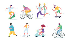Man And Woman Characters Running, Riding Bicycle, Skateboarding, Roller Skates, Fitness. Active People In The Park. Summer Outdoor.  Flat Vector Concept Illustration