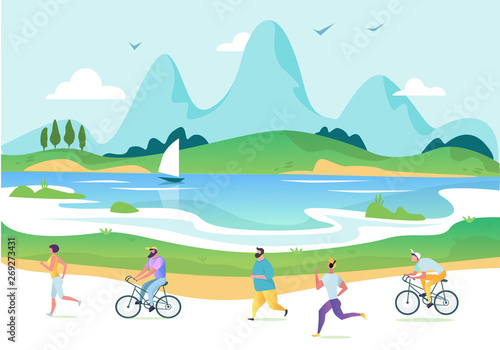 Garden Poster Light blue Vectorurban landscape in a minimalist style. Man and woman characters running, riding bicycle, skateboarding, roller skates, fitness. The city. Vector illustration