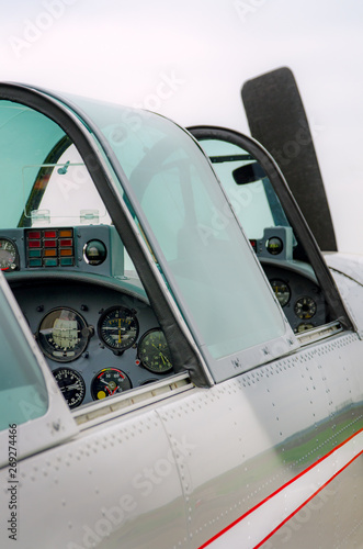 Photo Close up of a small airplane cockpit