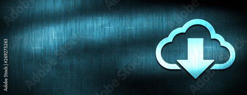 Fotografía  Cloud download icon abstract blue banner background