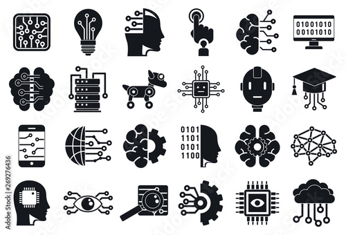 Artificial intelligence icons set. Simple set of artificial intelligence vector icons for web design on white background