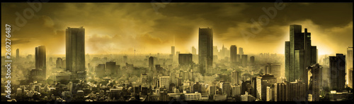 Nuclear city, apocalyptic landscape, digital art Wallpaper Mural