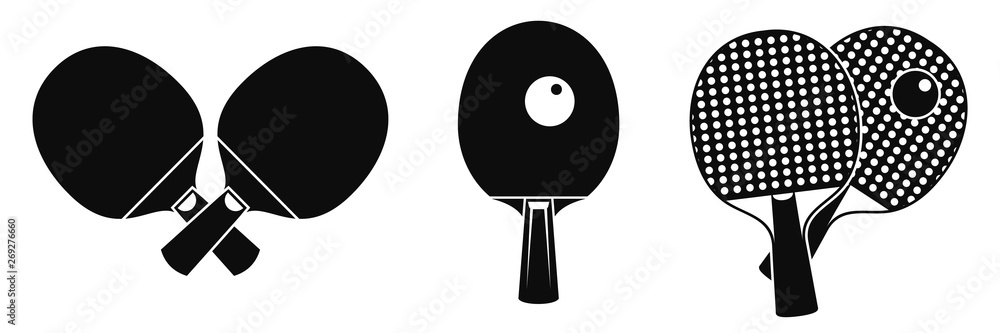 Fototapeta Table tennis equipment icons set. Simple set of table tennis equipment vector icons for web design on white background